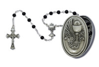 (463CBD) 5MM BLACK ROSARY WITH PEWTER