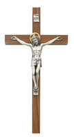 "(79-42625) 8"" WALNUT CRUCIFIX W/HALO"