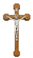 "(80-104) 10"" WALNUT CRUCIFIX W/HALO"