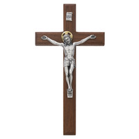 "(80-157) 8"" BEVELED WALNUT  CRUCIFIX"