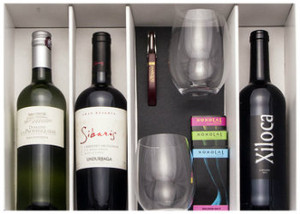 Marquis Wine Cellars Holiday Gift Package - 3 wines, 2 glasses & accessories