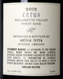 Antica Terra 2012 Ceras Pinot Noir Rear Label