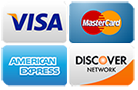 Accepted Credit Cards: Visa, Mastercard, Amex and Discover