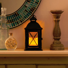Aversa Metal Lantern with LED Candle & On/Off/Timer