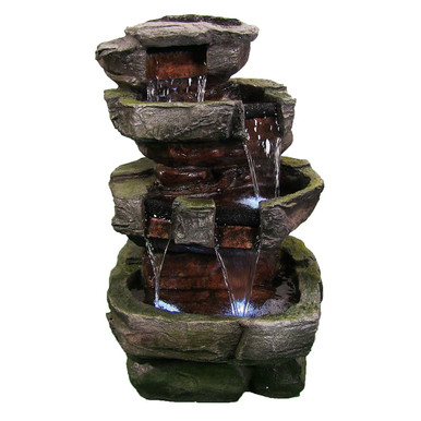 """24"""" Tiered Stone Waterfall w/ LED Lights"""