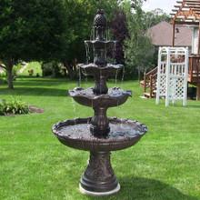 4-Tier Grand Courtyard Fountain - Dark Chestnut