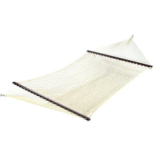 Cotton Double Wide Rope Hammock with Wood Spreaders