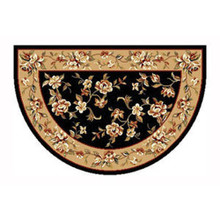 46x31 Half Round Floral Hearth Rug - Black/Beige
