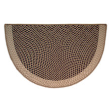 46x31 Half Round Tweed Braid Hearth Rug - Sandstorm