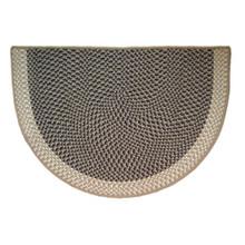 46x31 Half Round Tweed Braid Hearth Rug - Moss Green