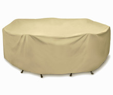 "Two Dogs 108"" Round Table Set Cover - Khaki"