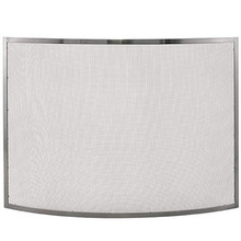 """41"""" Bowed Pewter Fireplace Screen"""