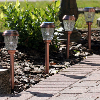 Charleston Solar Pathway Lights - Copper Finish
