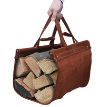 Brown Leather Log Carrier