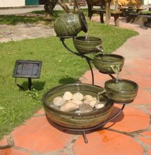 Cascade Solar Fountain - Green Bamboo Ceramic