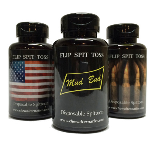 Mud Bud Disposable Spittoon 3-Pack - Flag-Bullets-Black