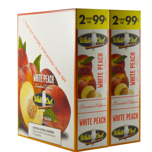 White Owl Cigarillos White Peach Cigars (30 Packs of 2) - Natural