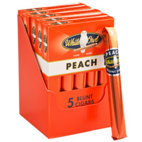 White Owl Blunts Peach Cigars (5 Packs of 5) - Natural