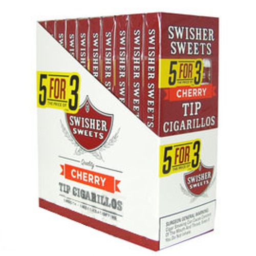 Swisher Sweets Tip Cigarillos Cherry Cigars (10 Packs of 5) - Natural