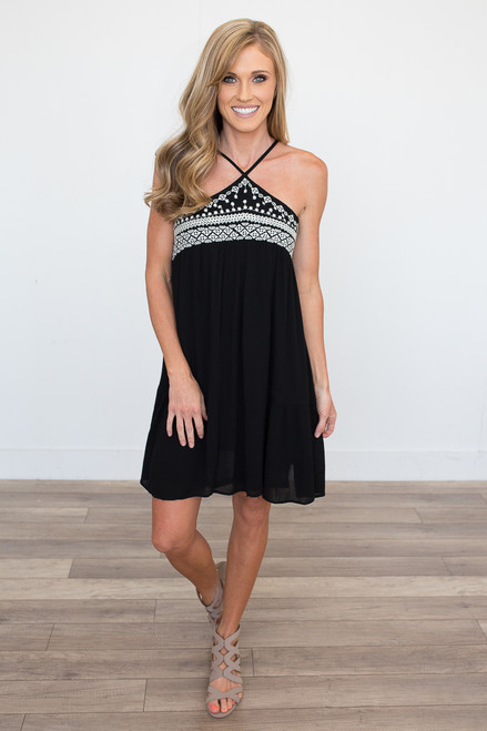 Embroidered Halter Neck Dress - Black - FINAL SALE