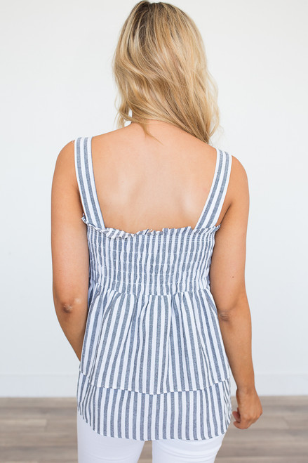Striped Smock Top - Black/White - FINAL SALE