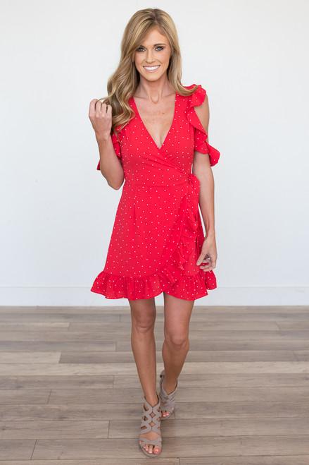 Polka Dot Ruffle Trim Dress - Red - FINAL SALE