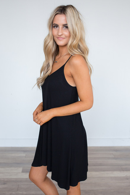 Sleeveless Ribbed Knit Dress - Black - FINAL SALE