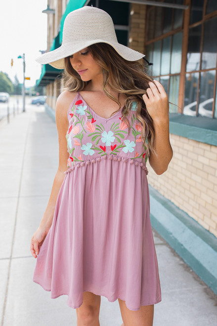 Floral Embroidered Pom Dress - Mauve - FINAL SALE