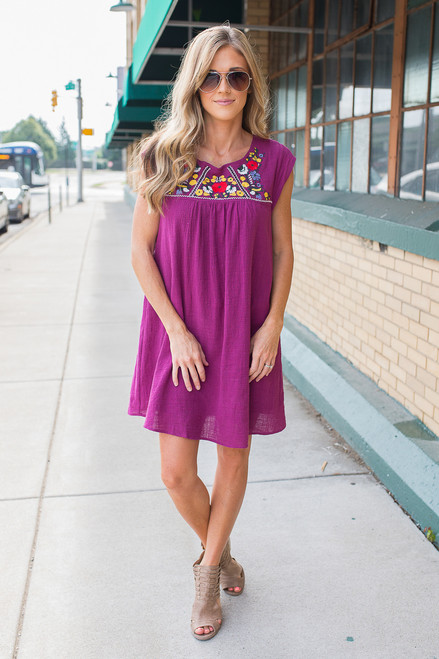 Floral Embroidered Linen Dress - Berry - FINAL SALE