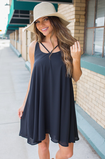 Downtown Darling Strap Detail Dress - Black - FINAL SALE