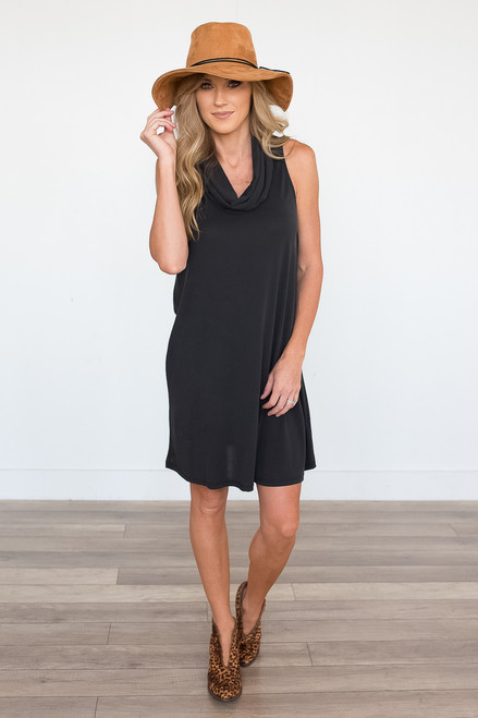 Everly Sleeveless Cowl Neck Dress - Faded Black - FINAL SALE