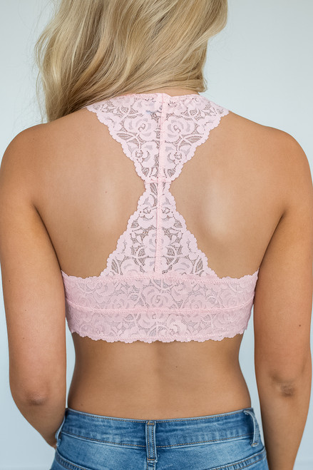 Racerback Lace Bralette - Light Pink - FINAL SALE