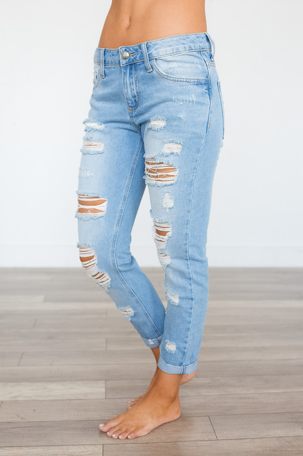 Laguna Beach Distressed Boyfriend Jeans - Light Wash - FINAL SALE