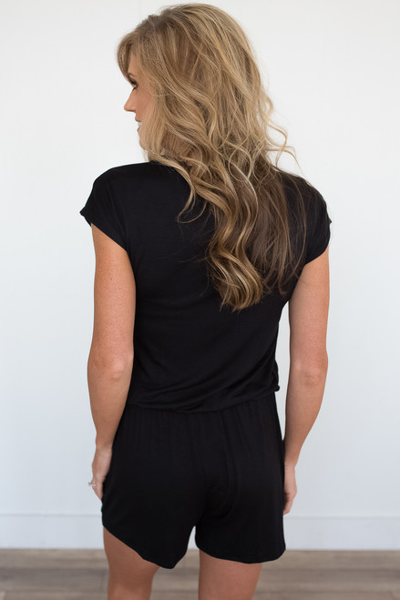 Short Sleeve Button Down Romper - Black - FINAL SALE