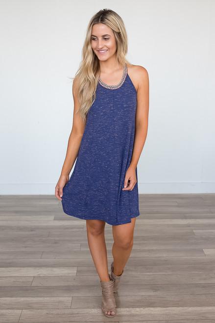 Braided T-Strap Back Dress - Heather Blue - FINAL SALE