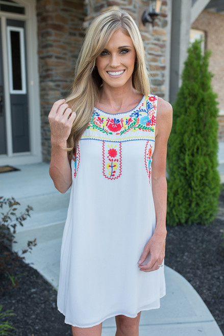 State Fair Embroidered Dress - White Multi - FINAL SALE