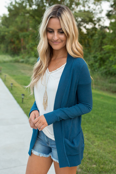 Down By The Bay Knit Cardigan - Dark Teal