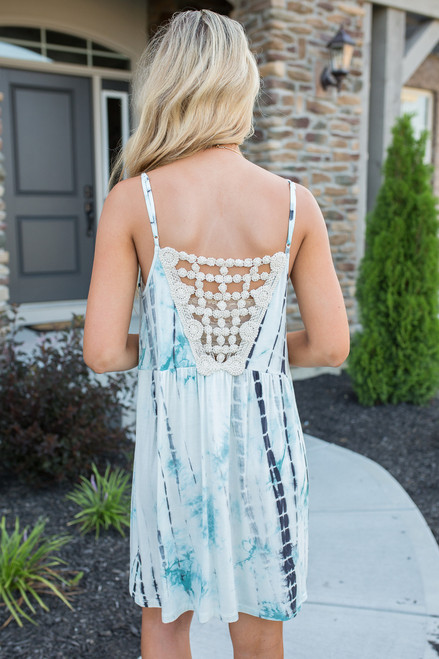 Tie Dye Crochet Back Dress - Teal Multi  - FINAL SALE