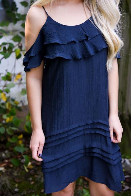 Cold Shoulder Ruffle Dress - Deep Navy - FINAL SALE