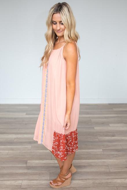 Embroidered Mixed Print Midi Dress - Peach Multi - FINAL SALE