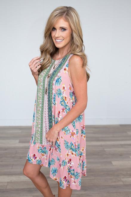 Mixed Floral Print Dress - Pink Multi - FINAL SALE
