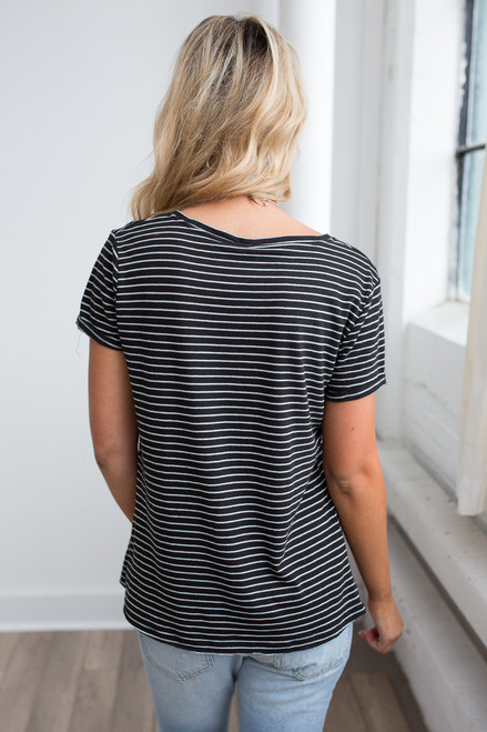 Striped V-Neck Pocket Tee - Black/White - FINAL SALE