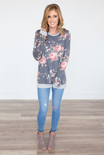 Long Sleeve Floral Top - Charcoal  - FINAL SALE