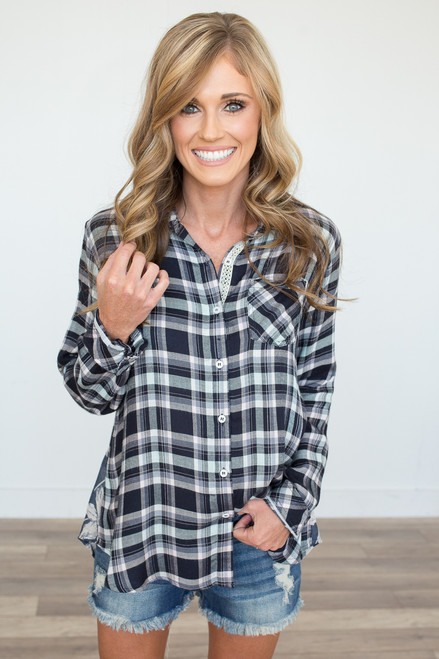 Plaid & Floral Mixed Print Blouse - Navy - FINAL SALE
