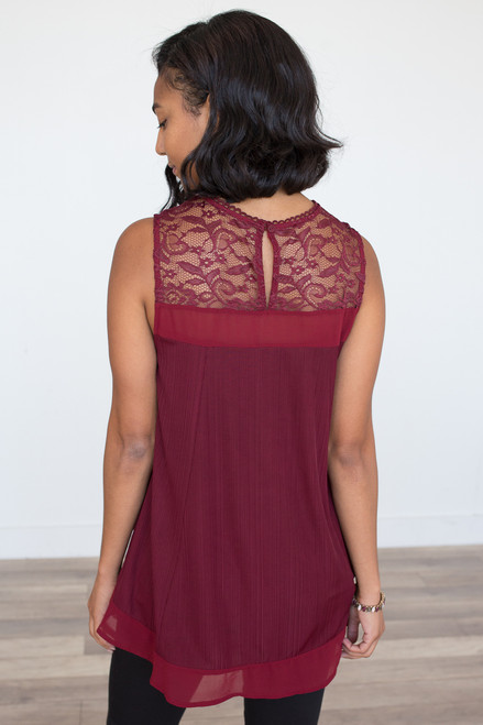 Sleeveless Lace Detail Blouse - Wine - FINAL SALE