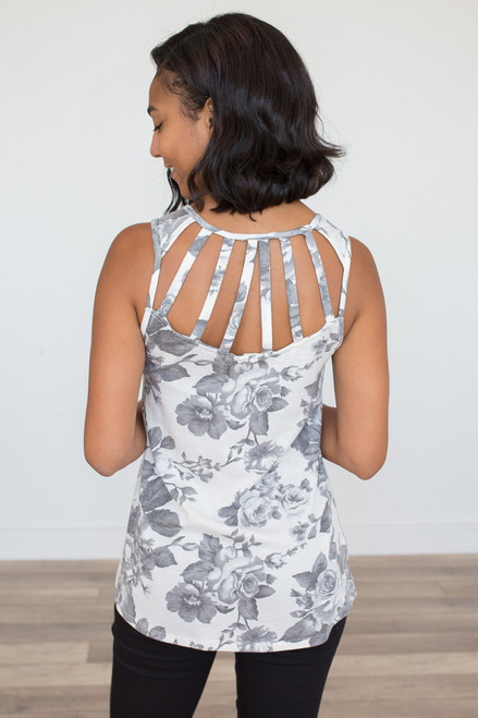 Floral Print Cage Back Tank – Grey - FINAL SALE