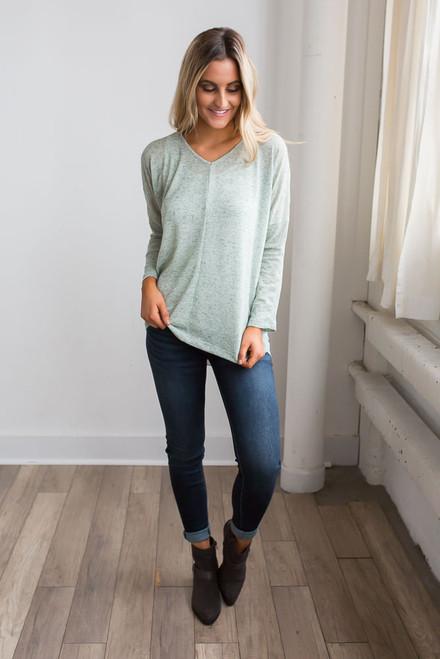 Long Sleeve Sheer Back Top - Heather Mint - FINAL SALE
