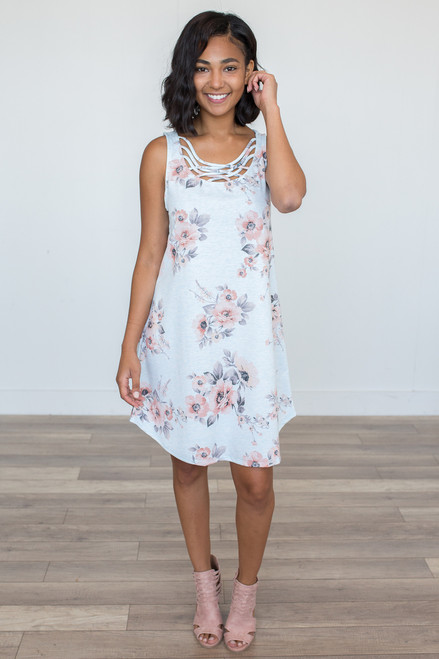 Cage Front Floral Print Dress – Heather Ice Blue - FINAL SALE