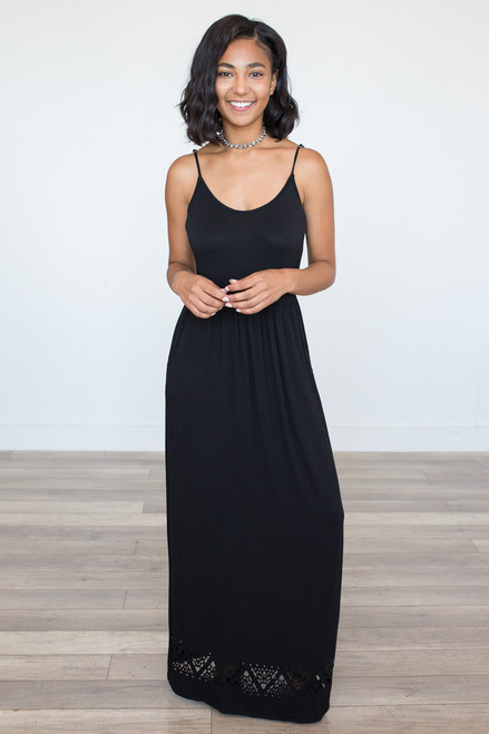 Spaghetti Strap Cutout Maxi Dress – Black - FINAL SALE