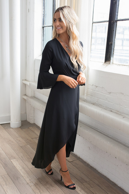 Everly High Low Bell Sleeve Maxi - Black - FINAL SALE